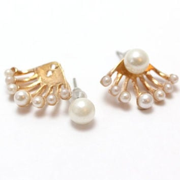 Pearl Ear Jacket Earring, Ear Cuffs, Minimalist Ear Cuff, Crystal Ear Cuff, Ear Crawler, Ear Climber, Bohemian Ear Cuff, Ear Sweep