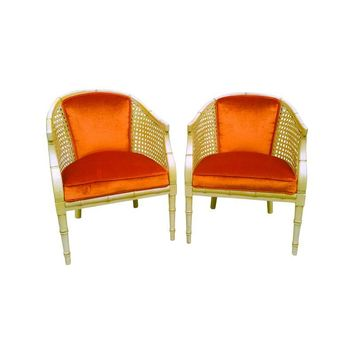 Pre-owned Faux Bamboo & Velvet Chairs - A Pair
