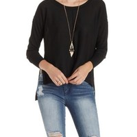 High-Low Scoop Neck Pullover by Charlotte Russe