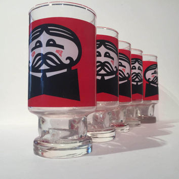 Pringles Tumblers Set of 5 Red and Black Bar Glasses, Retro Drinking Glasses, Anchor Hocking Pringles Potato Chip Tumblers Glasses Barware