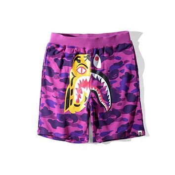 BAPE summer tiger shark stitching men and women loose casual five points shorts F-A-KSFZ Purple