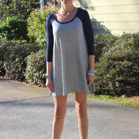 Grey/Navy Raglan Baseball Dress