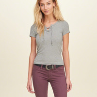 Lace-Up Slim Ribbed T-Shirt