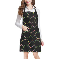 Festive Christmas Lights On Black All Over Print Apron | ID: D2378777