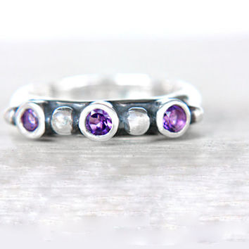 Purple Amethyst Ring Triple Amethyst Engagement Ring Sterling Silver Amethyst Promise Ring February Birthstone