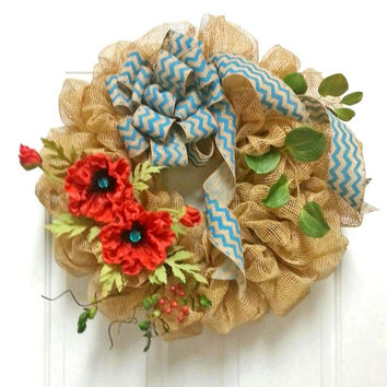 Red and Turquoise Chevron Burlap Deco Mesh Wreath