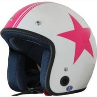 Vintage Open Face Motorcycle Scooter Helmet DOT Star Pink/white 170 (S)