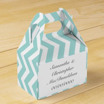 Pale aquamarine stripe chevron wedding favor box