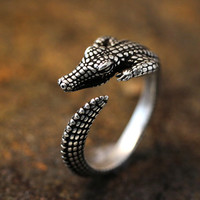 Adjustable Retro Crocodile Ring Alligator Antique Silver tone Animal Ring Jewelry Free Size gift idea