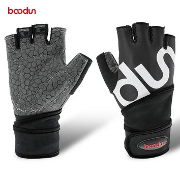 Boodun New Gym Fitness Gloves Men Women Extended Wristband Design Black Bodybuilding Weightlifting Fingerless Mittens AGB579