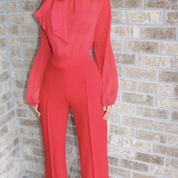 Bella Bow Jumpsuit Fire Red