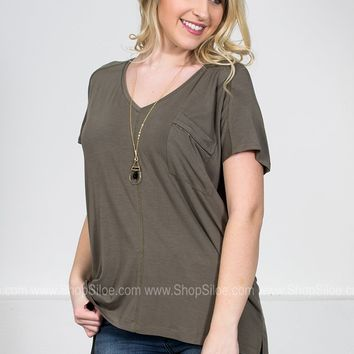 Zipper Sage Pocket Top