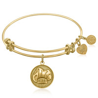 Expandable Bangle in Yellow Tone Brass with Chef Symbol