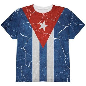 PEAPGQ9 Distressed Cuban Flag All Over Youth T Shirt