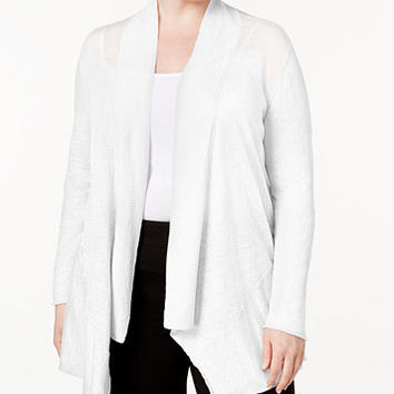 Alfani Plus Size Linen Open-Front Cardigan, Created for Macy's | macys.com