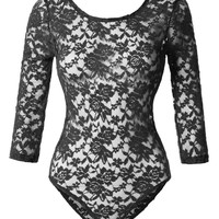 LE3NO Womens Sexy Floral Lace Sheer See Through 3/4 Sleeve Bodysuit Jumpsuit