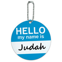 Judah Hello My Name Is Round ID Card Luggage Tag
