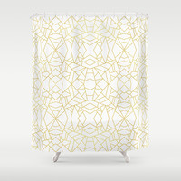 Gold Lace Shower Curtain by Elisabeth Fredriksson