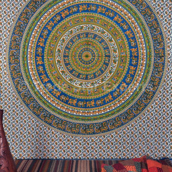 Elephant Mandala Tapestry, Queen Bedding, Indian Tapestries, Good Luck Elephant Wall Decor, Picnic Blanket, Hippie Wall Art, Dorm Decor