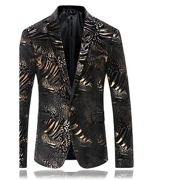 Blazer Men Luxury Men Leopard Print Blazer Stage Costumes For Singers Wedding Blazers Casual Suit