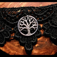Handmade Black Lace Choker Tree of Life Handcrafted Victorian Jewelry Gothic Choker Necklace Holiday Gift Custom Length
