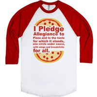 Pledge Allegiance to the Pizza-Unisex White/Red T-Shirt