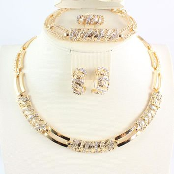 Women African Beads Jewelry Sets Cz Crystal Necklace Earring Ring Bracelet Jewelries Set Gold Color Statement Accessories