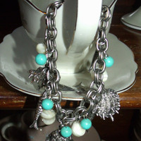 Vintage 1960's Oysters and Fish Beach Theme Charm Bracelet