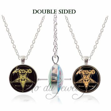 Inverted Pentagram Goat Head Double Face Pendant Necklace The Sign of Satanism Occult Glass Choker Necklaces Evil Jewelry