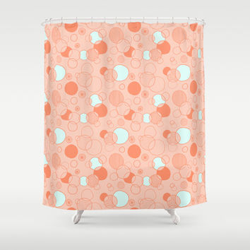 Coral Bubbles (with a hint of mint) Shower Curtain by Anita Ivancenko
