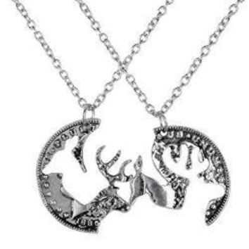 Silver Coin Stag Deer Couple Pendant Necklace