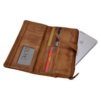 ZLYC Women Vintage Handmade Dip Dye Soft Leather Long Clutch Wallet Card Holder