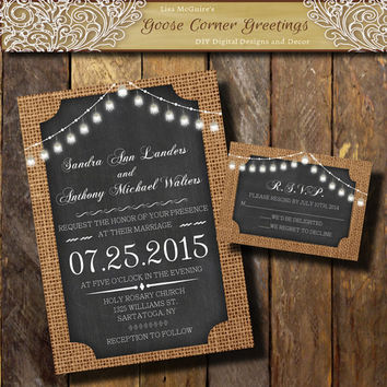 BURLAP Wedding Invitation// Bell String Lights//Chalkboard//Rustic wedding invitations//Shower//Birthday//Baby Shower