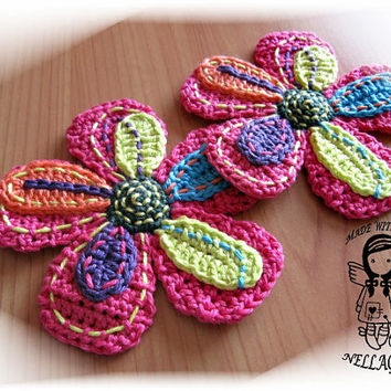 Crochet PATTERN, Applique Big Flower, DIY Pattern 12