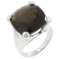 Smokey Cushion Cocktail Ring, size : 05