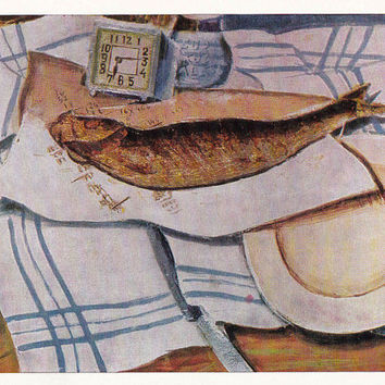 Fish and fish dishes. Set of 26 Still Lifes on Vintage Postcards - 1970s-1980s