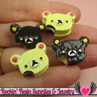 4 pieces TEDDY BEAR Head Cake Sweets Kawaii Decoden Flatback Cabochon 20x14mm