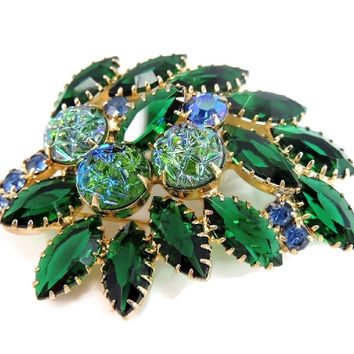 Vintage Rhinestone Brooch Blue Green Iridescent Art Glass Stones
