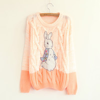 Little rabbit patch sweater