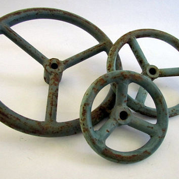 Salvage robins egg blue vintage iron valve handle by clcort
