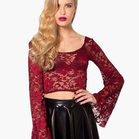 Deep Red Lace Crop Top