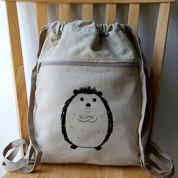 Disgruntled Hedgehog Canvas Backpack by catbirdcreatures on Etsy