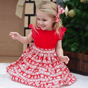 Infant Baby Girls Christmas Print Ruffle Lace Headband sleveless MIini Dress Jumpsuit Outfit Off Shoulder winter Clothing set