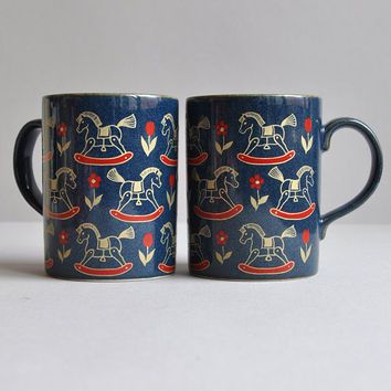 Rocking Horse & Flowers Mugs - Otagiri Japan