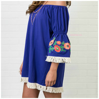SZ SMALL Never Be Royals Blue Bell Sleeve Embroidered Dress