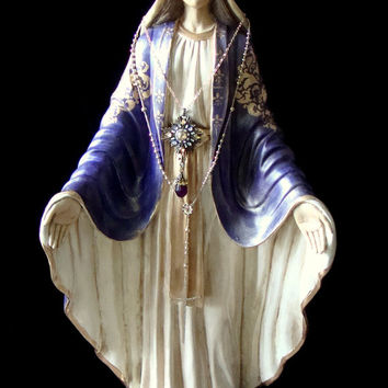 "Ex-Large OOAK 42 "" Virgin Mary Statue Antiqued in Royal Purple  w/ 14 K Gold Plated Metal Crown Religious Statuary"