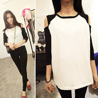 New Fashion New Fashion Korean Women's Top Off Shoulder 1/2 Sleeve T-shirt Casual Wear