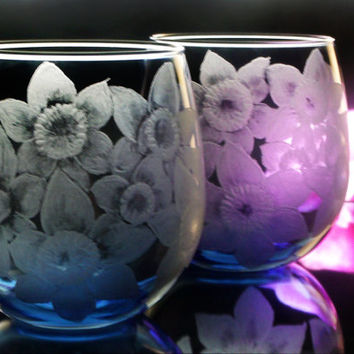 daffodil buttercup blue wine glass set of two , hand engraved stemless blue wineglass wine glass , glassware