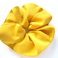 Large hair scrunchie Yellow thick fabric ponytail holder Fabric tube is 3 inches (8 cm) wide