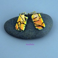 Elegant Coppery Gold Dichroic Glass Earrings with Black Accents